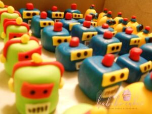 Custom Cupcakes Robot Toppers Mixed